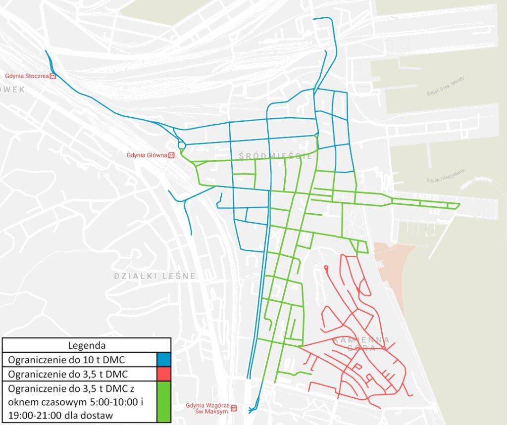 mapa dot. ograniczeń wjazdu do centrum Gdyni