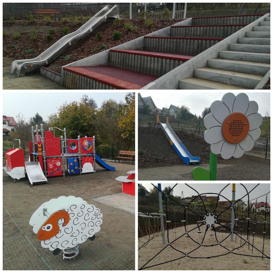 urządzenia zabawowe na placu zabaw przy Źródło Marii