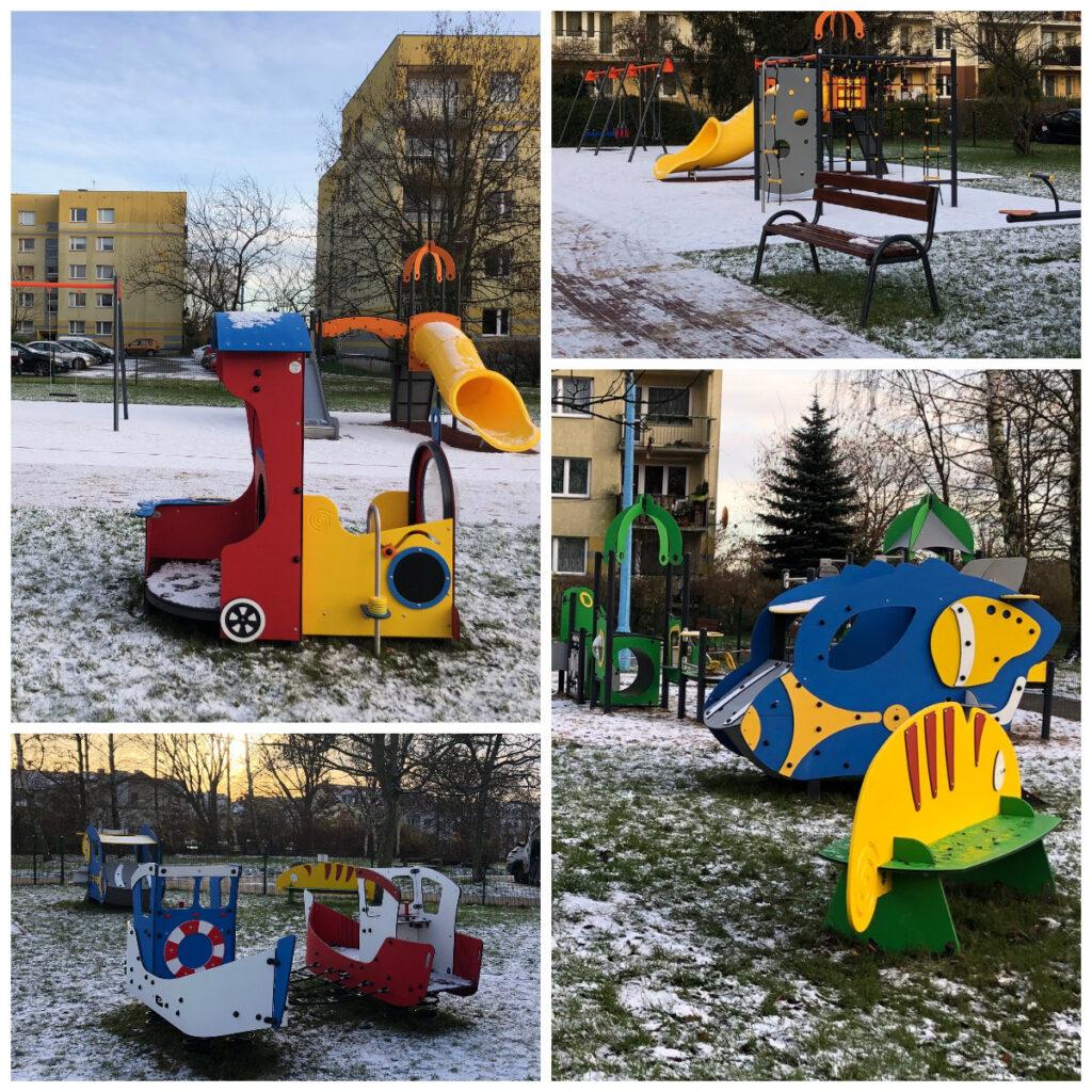 Urządzenia zabawowe na placu zabaw przy ulicy Korzennej/ fot. ZDiZ