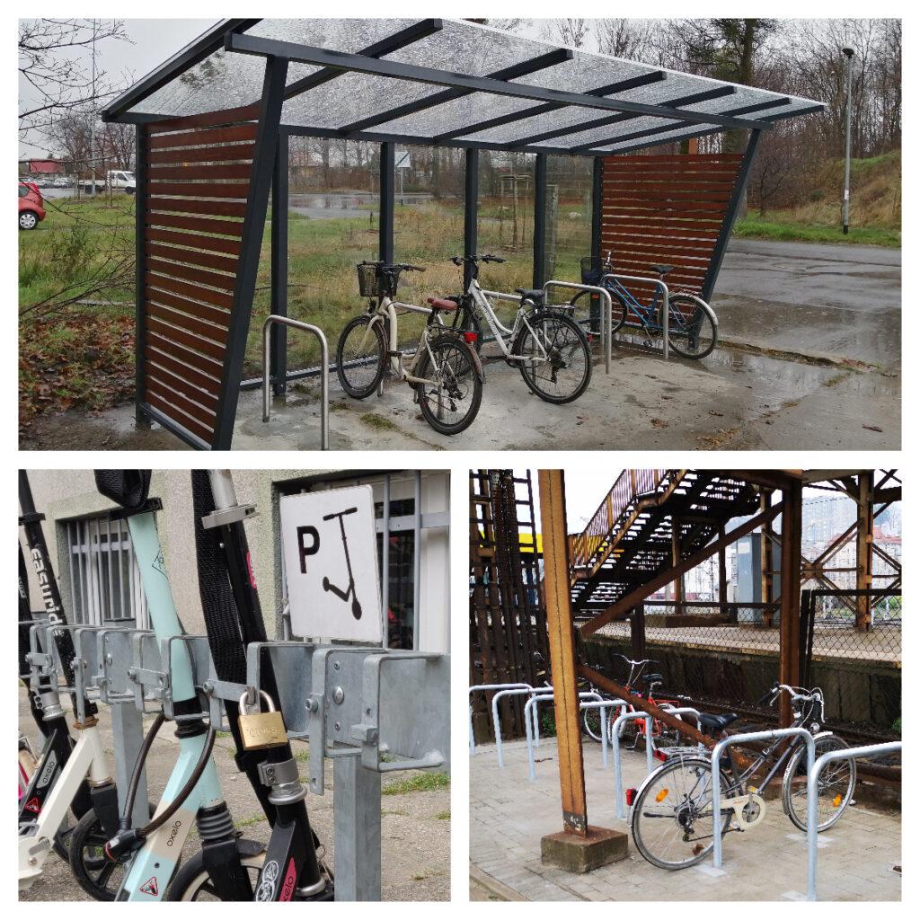 wiata rowerowa, stojaki rowerowe i hulajnogowe w Gdyni