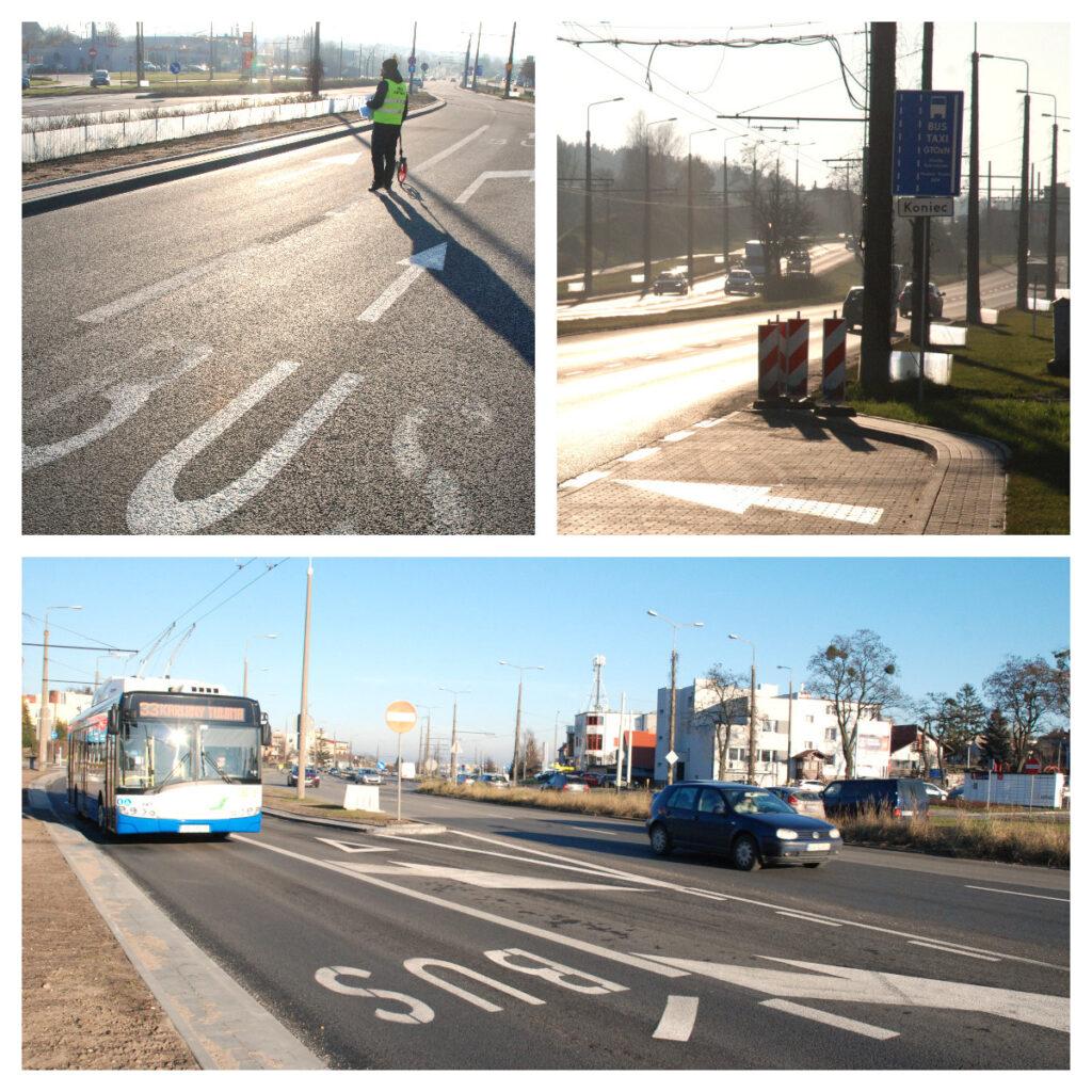 Nowy buspas o długości 700 metrów na ulicy Wielkopolskiej. fot. Monika Karnowska/ ZDiZ