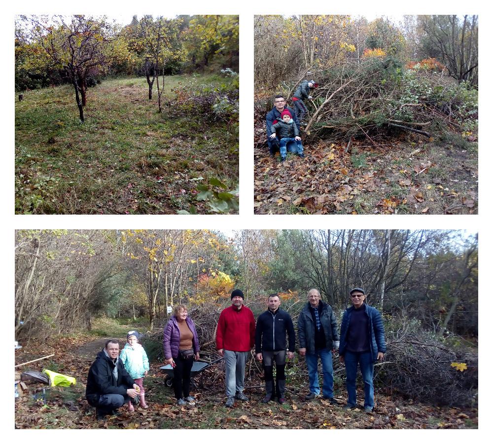 Mieszkańcy Małego Kacka oraz radni dzielnicowi podczas sprzątania terenu, na którym ma powstać park rodzinny/ fot. Wiesław Karpisiak