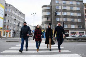 Przejście dla pieszych na ulicy Śląskiej