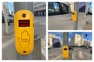 Przycisk uruchamiajacy zielone światło na przejściu dla pieszych // fot. ZDiZ