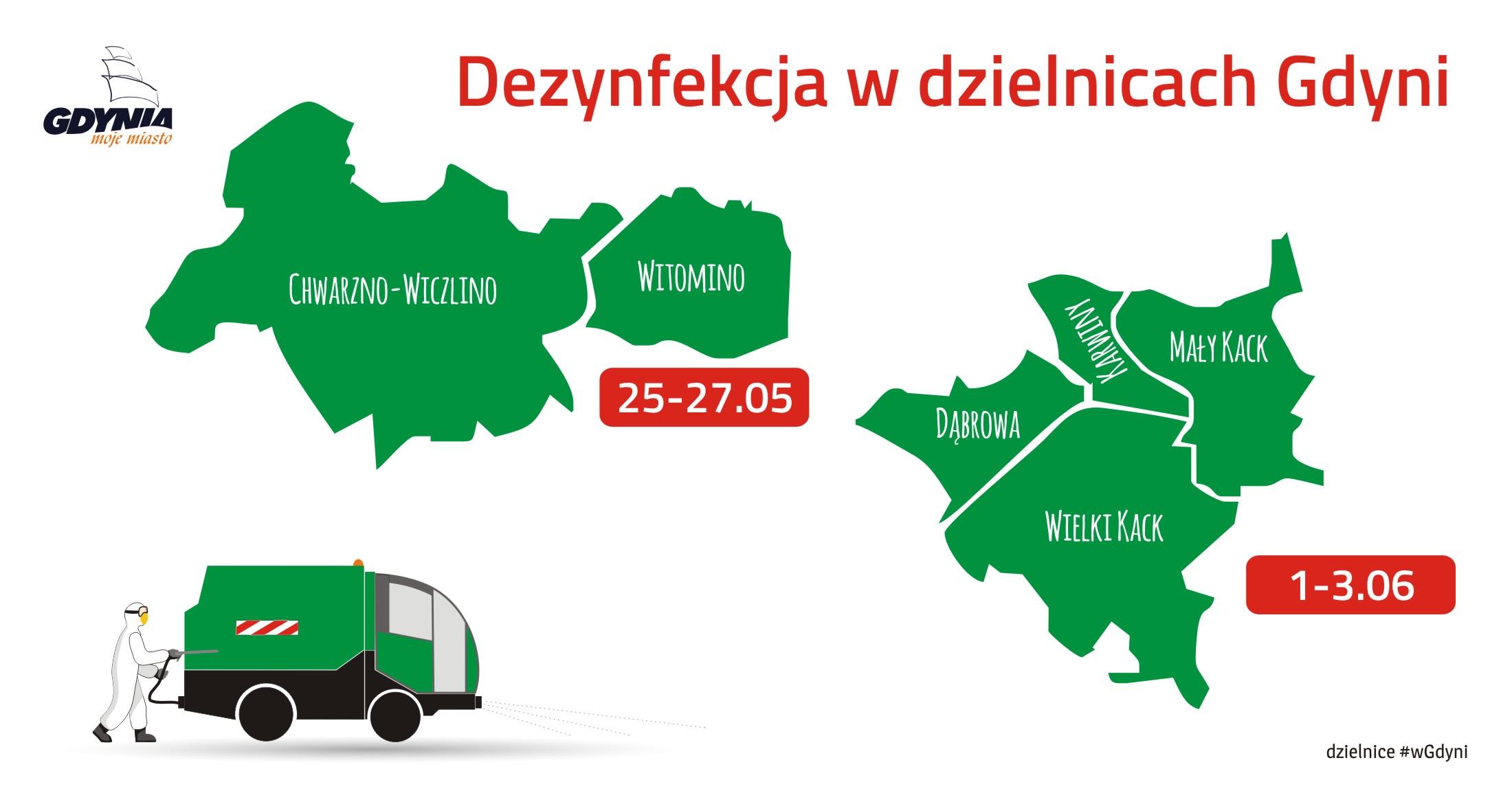 Mapka pokazujące, które dzielnice będą dezynfekowane w maju i czerwcu br. // mat.pras.