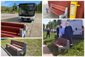 Zmodernizowane ławki miejskie na bazie PKA oraz ustawione przez pracowników PKA wzdłuż ul. Dąbka // fot. ZDiZ, PKA