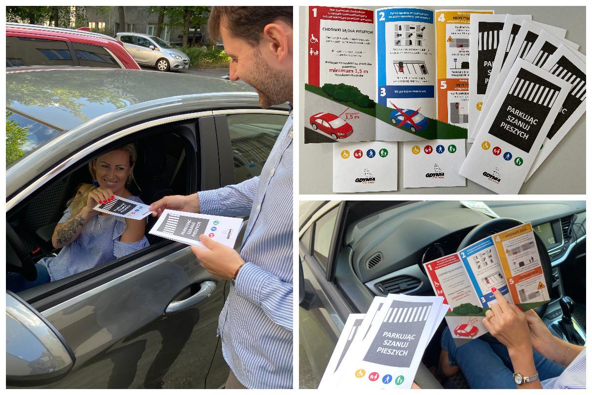 Wręczanie ulotki edukacyjnej dla kierowców // fot. ZDiZ