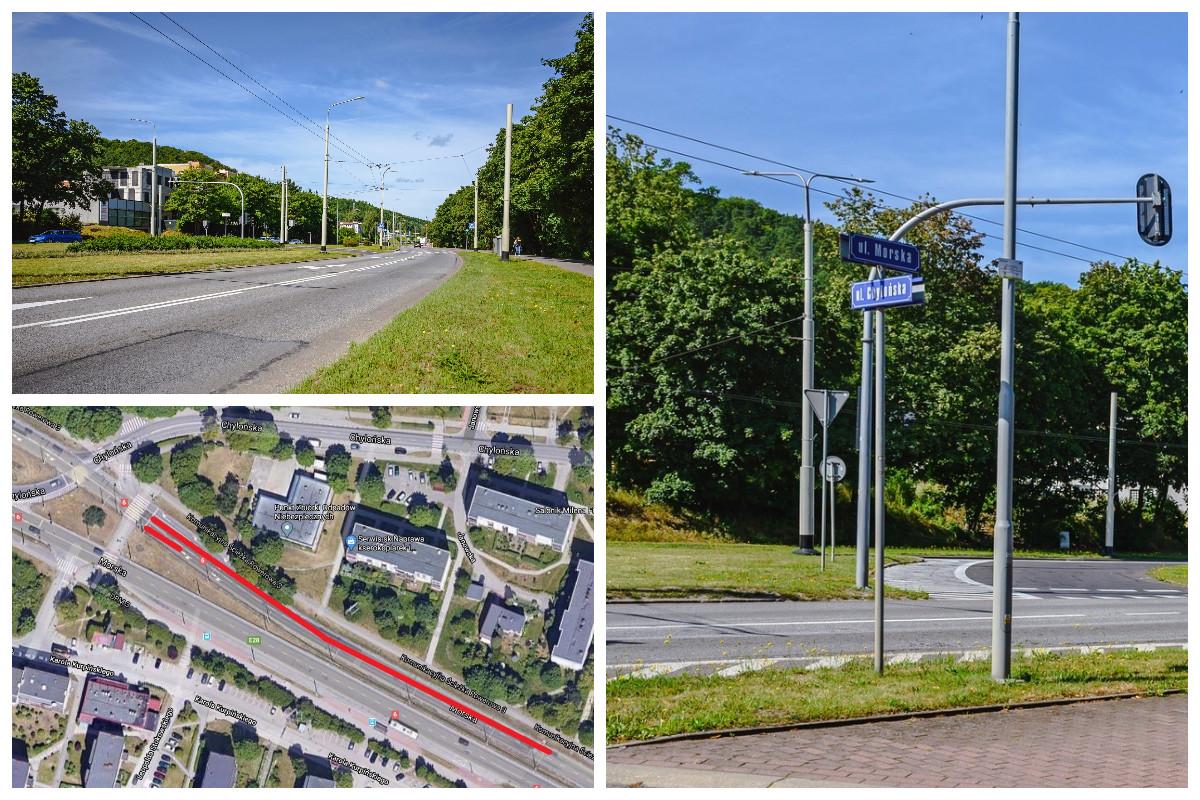 Nawierzchnia ulicy Morskiej oraz zazznaczzony w kolorzez czerwonym odcinek jezzdni, który będzie remontowany // fot. #DzielnicewGdyni