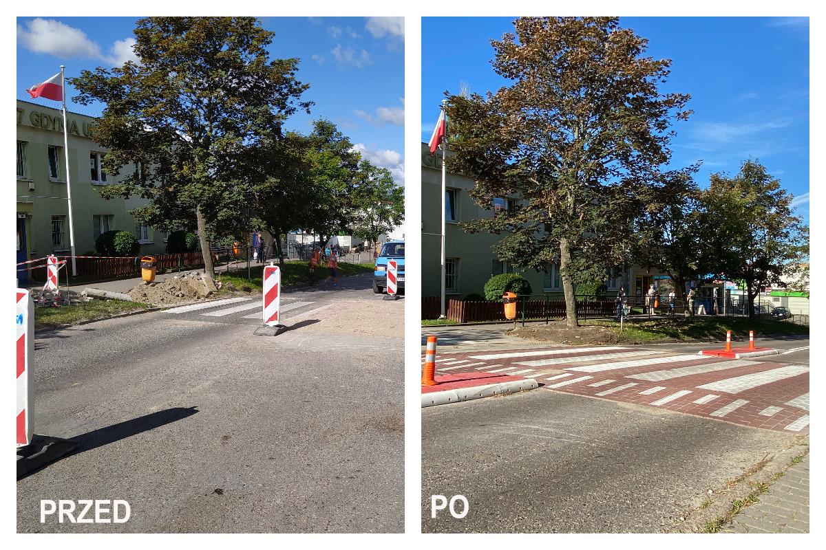 Na dzj. po lewej prace drogowe na jezdni, słupki ostrzegawcze. Na zdj. po prawej wyniesione prezjście dla pieszych, pomarańczowe słupki z taśmą odblaskową // fot. ZDiZ