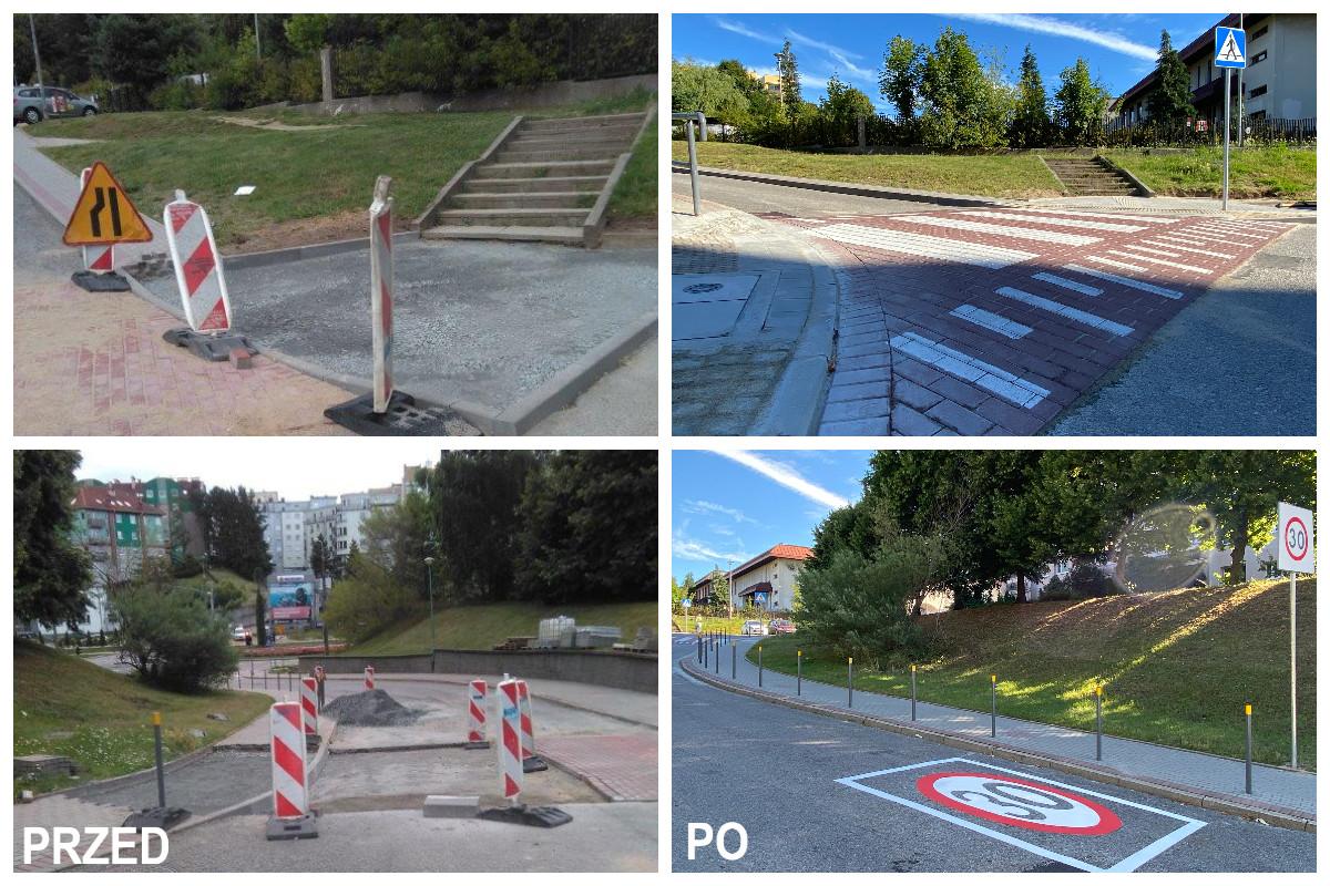 Na zdj. po lewej stronie znak ostrzegawczy, barierki, na zdj. po prawej znak poziomu z liczbą 30, wyniesione przejście dla pieszych, znak pionowy inf. o przejściu dla pieszych // fot. ZDiZ