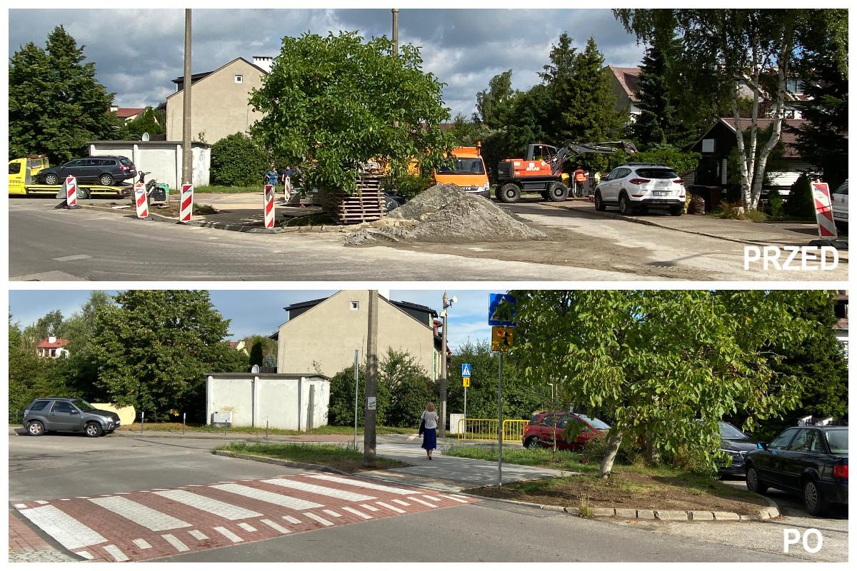 Na górnym zdj. prace drogowe, barierki. Na dolnym zdj. wynesione przejście dla pieszych, drzewo // fot. ZDiZ