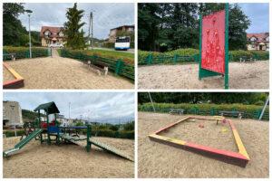 Piaskownica, ścianka wspinaczkowa i zestaw zabawowy na placu zabaw przy ul. Wieluńskiej // fot. ZDiZ