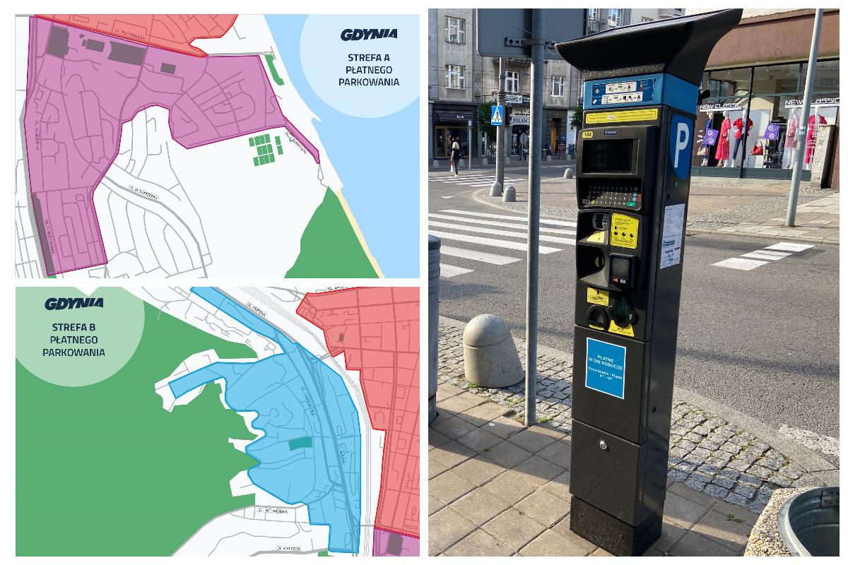 Mapki pokazujące obszar rozszerzonej strefy płatnego parkowania i parkomat na ulicy Gdyni // fot. ZDiZ