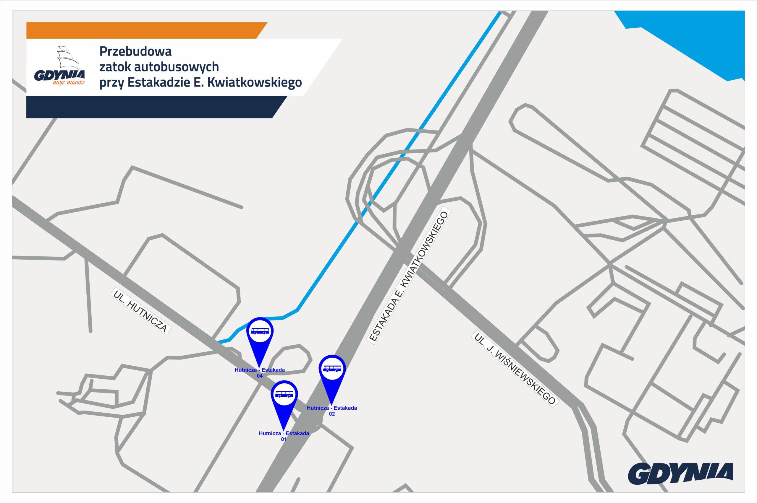 Mapka z zaznaczonymi na niebiesko zatoki autobuspwymi, na których trwa remont // mat.pras. #dzielnicewGdyni