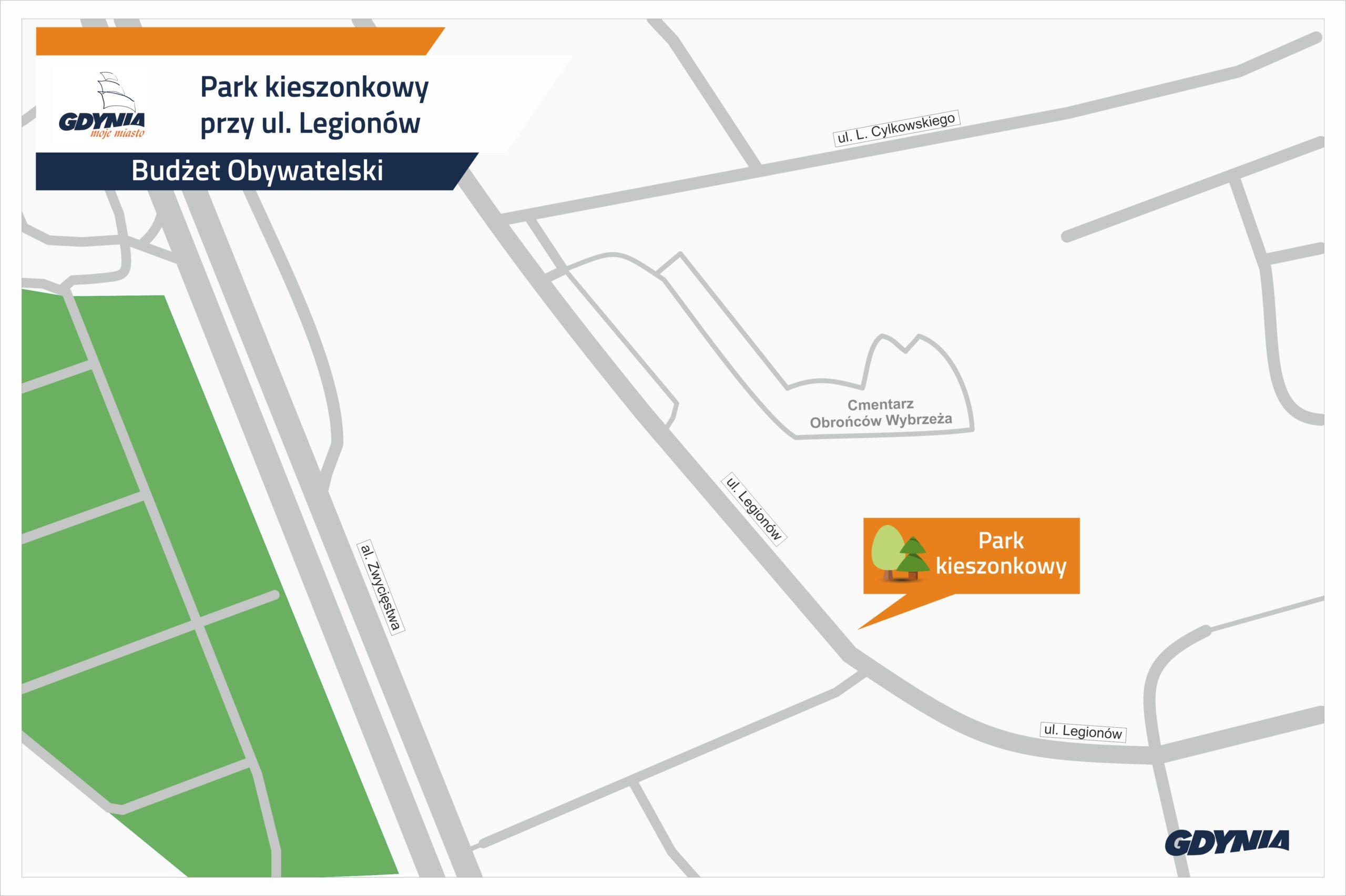 Mapka wskazująca lokalizację na ul. Legionów, gdzie powstanie par kieszonkowy z BO // mat.pras. dzielnice#wGdyni