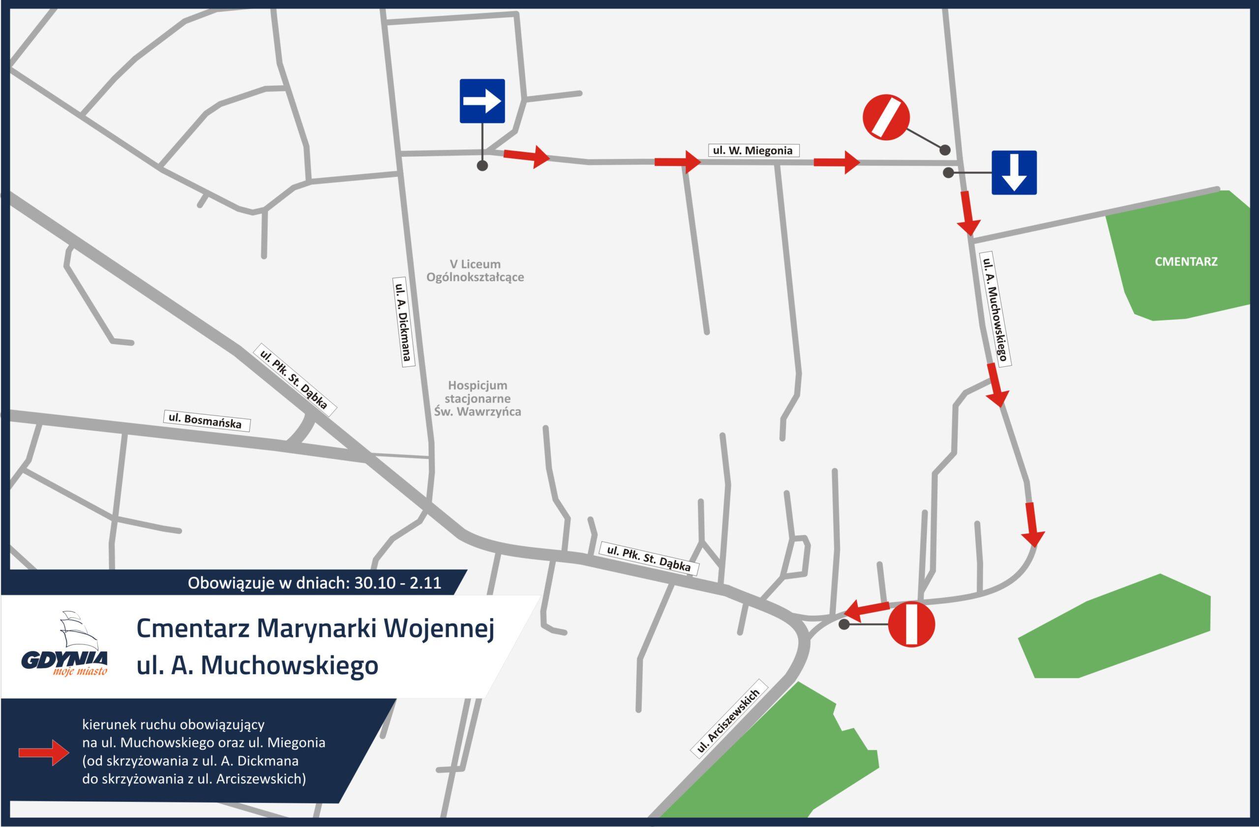 mapka pokazująca organizację ruchu przy Cemntarzu Marynarki Wojennej na Oksywiu // mat.pras. dzielnice#wGdyni