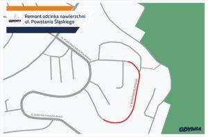 Mapka wskazująca odcinek ul. Powst. Śląskiego, który będzie remontowany// mat. pras dzielnice#wGdyni