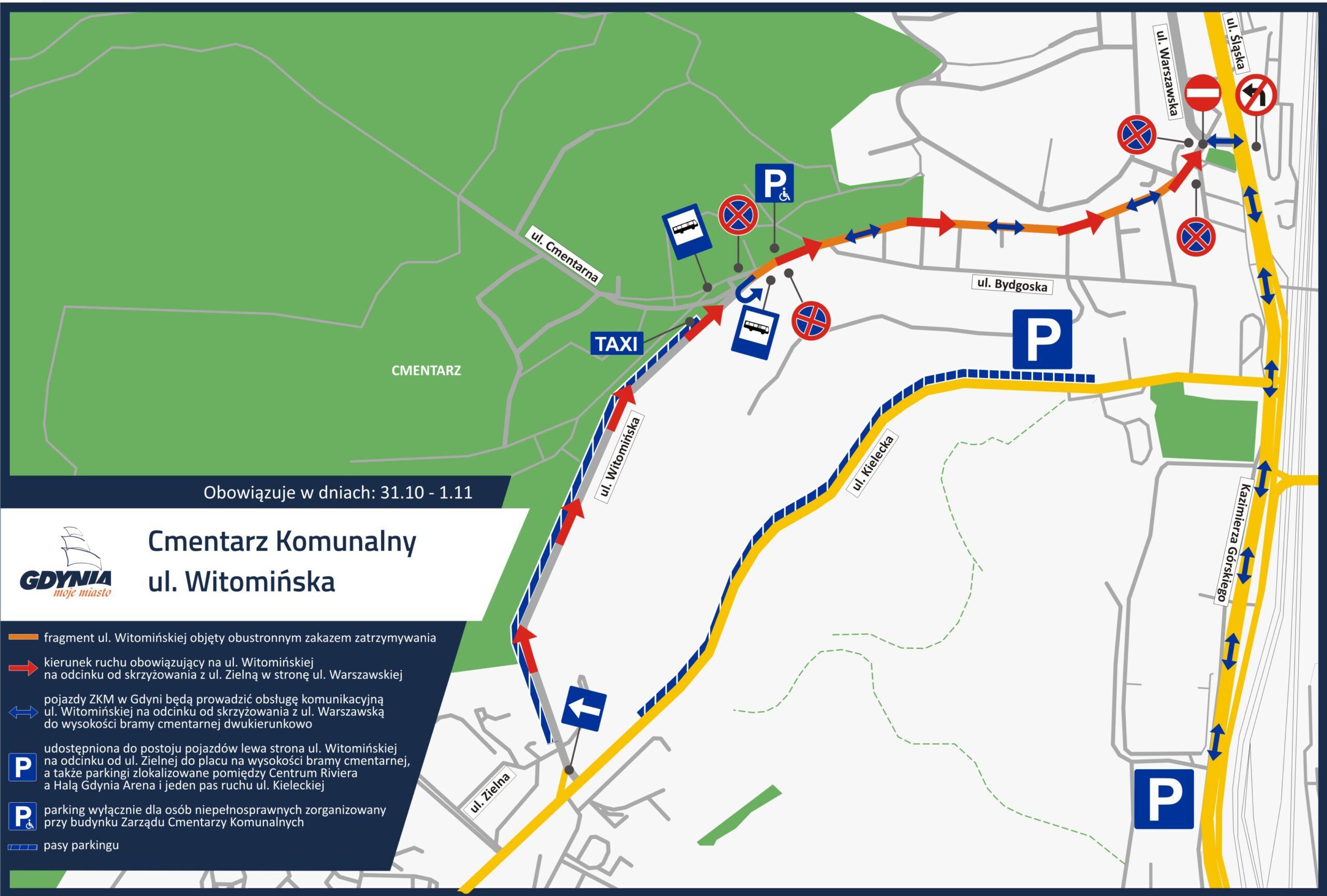 Mapka pokazuzjąca organizację ruchu przy Cmentarzu Witomińskim // mat.pras. dzielnice#wGdyni