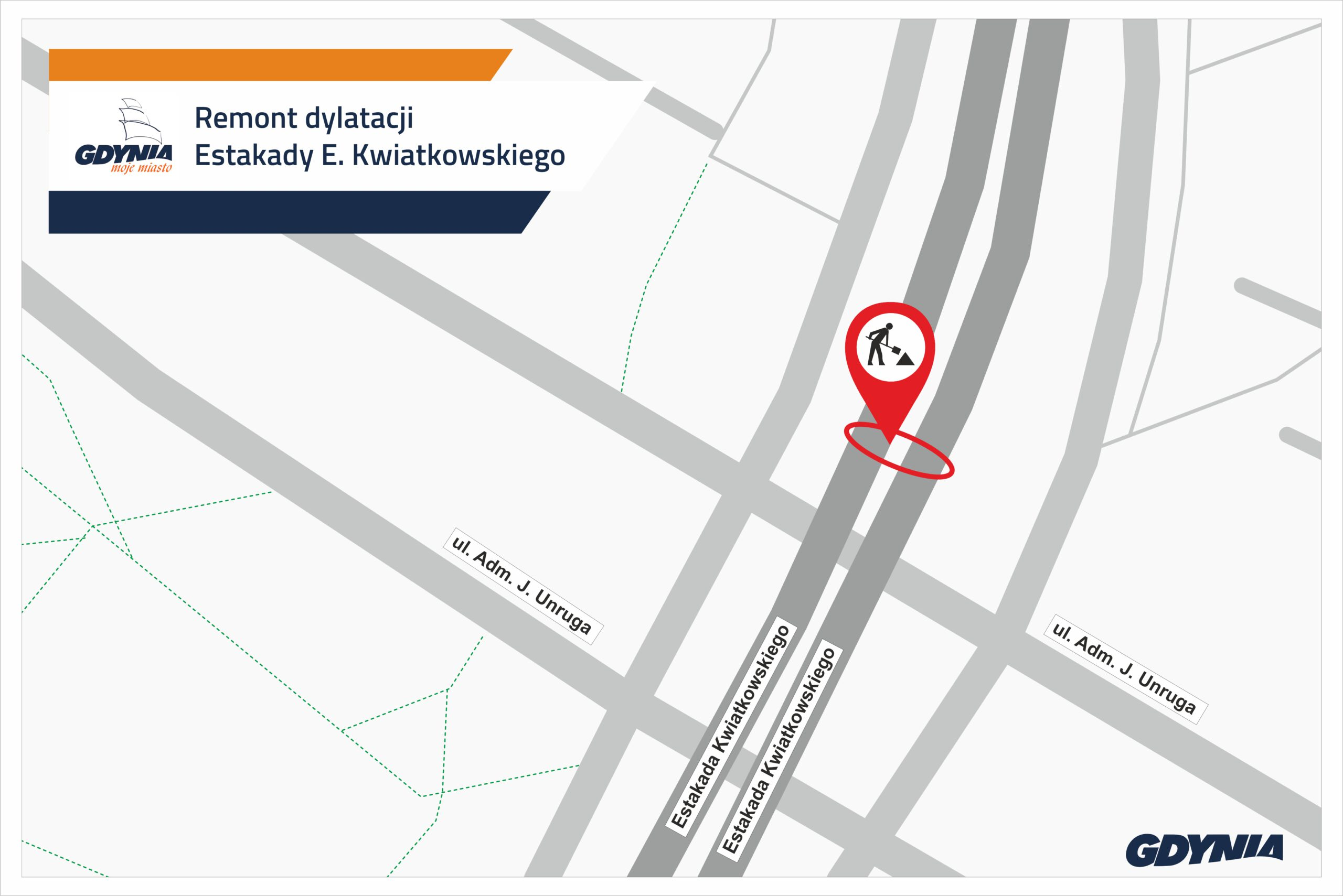 Mapka pokazuzjąca miejsce remontu dylatacji na estakadzie// mat.pras.