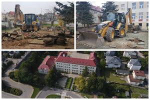 Koparki na placu zabaw oraz widok szkoły z lotu ptaka // fot. ZDiZ. #dzielnicewGdyni
