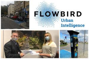 Kolaż zdjęć: logo formy Flowbird, parkomat, podpisanie umowy // fot. ZDiZ