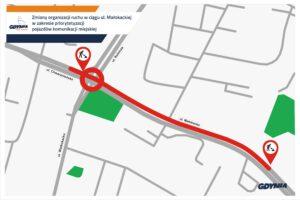 Mapka z nowym odcinkiem buspasa// mat.pras. #dzielnicewGdyni