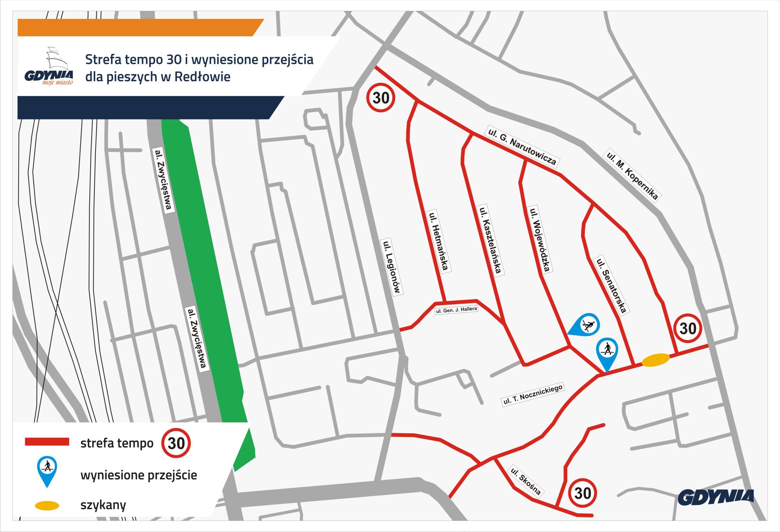 Mapka wskazująca strefę 30 km/h i nowe przejścia // mat.pras. dzielnice#WGdynia