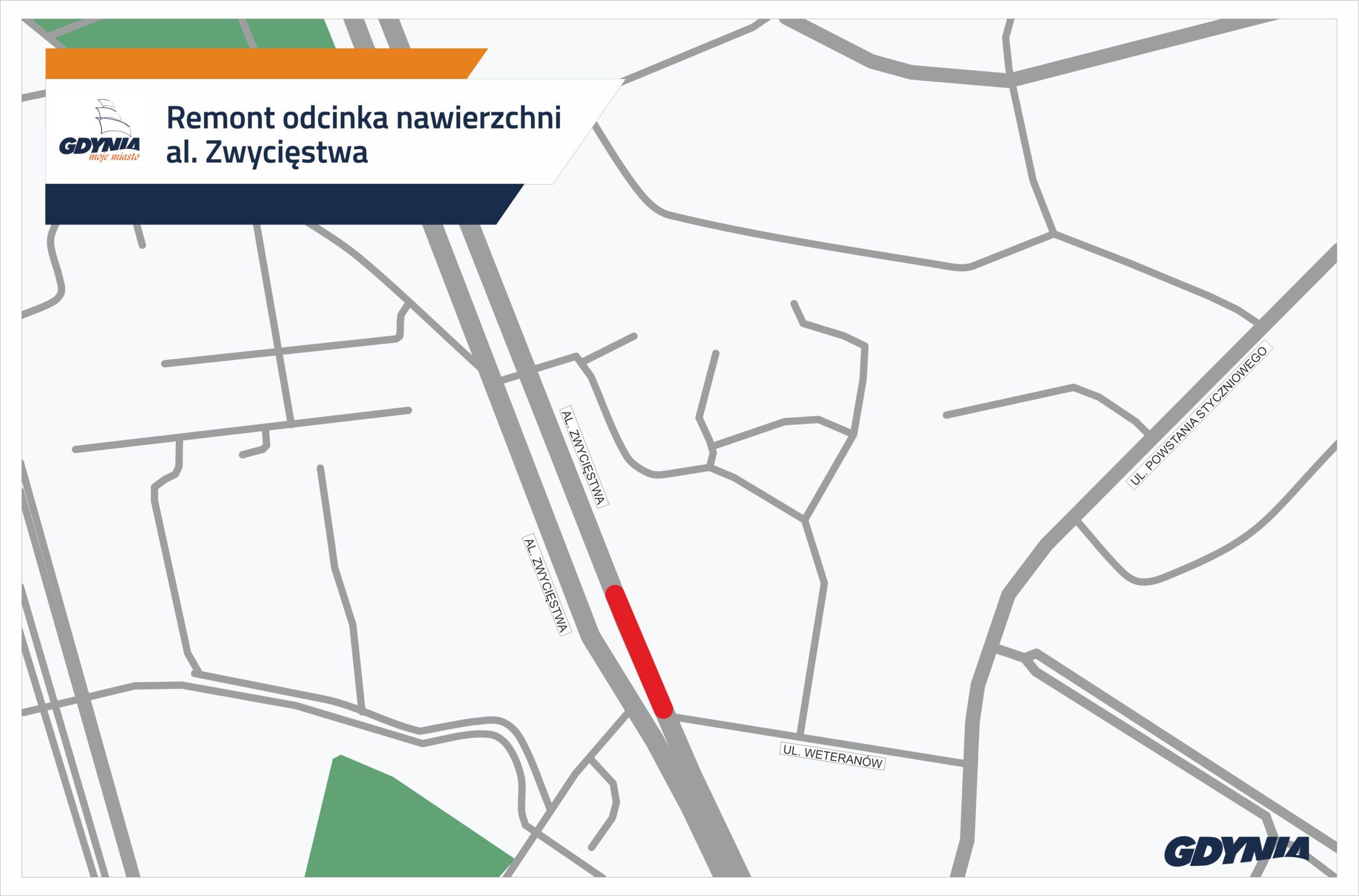 Odcinek al. Zwycięstwa, gdzie zostanie przeprowadzony remont // mat.pras. #dzielnicewGdyni