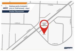 Grafika z lokalizacją parku trampolin na Dąbrowie // mat.pras. #dzielnicewGdyni
