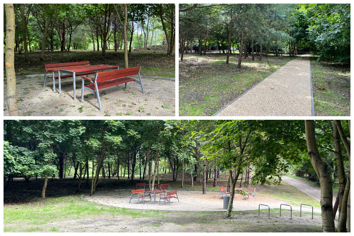 Ławki, stoły, stojaki rowerowe i utwardzane ścieżki zrealizowane w ramach I etapu zagospodarowania parku przy ul. Spokojnej // fot.ZDiZ