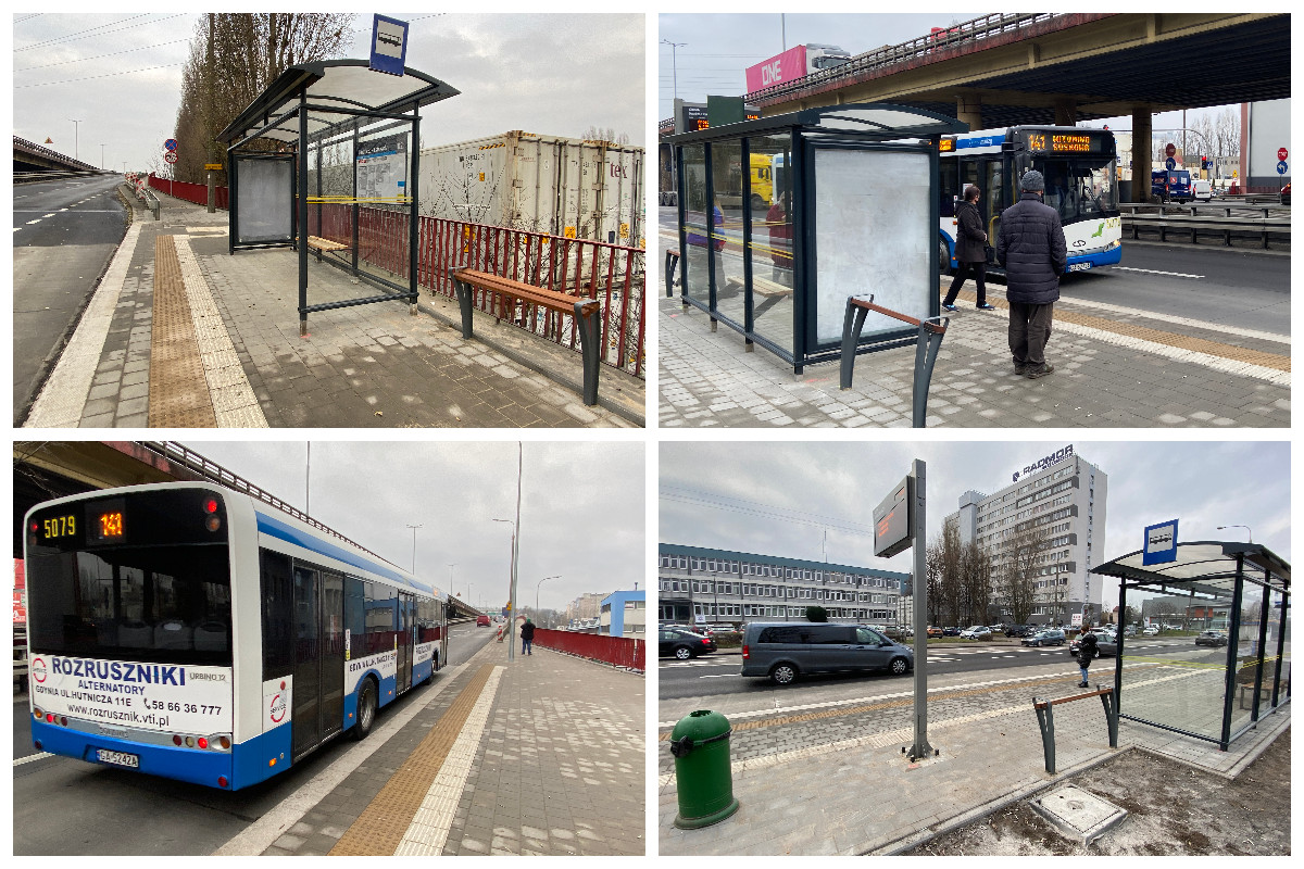 Zmodernizowane zatoki autobusowe w rejonie skrzyżowania Estakady Kwiatkowskiego i ul. Hutniczej // fot. ZDiZ