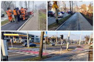 Kolaż zdjęć: u gówy z lewej prace modernizacyjne drogi rowerowej, górny prawy róg, nowa nawierzchnia trasy i nowy chodnik, poniżej skrzyżowania ulic i grafgment nowej drogi rowerowej // fot. ZDiZ