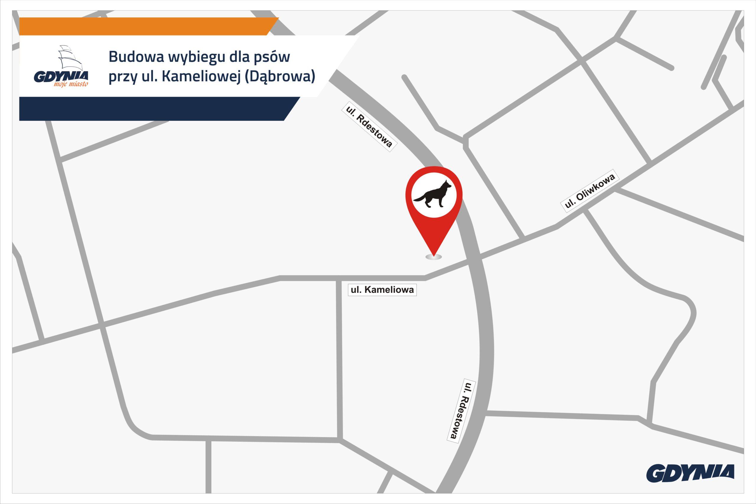 Mapka przedstawiająca lokalizację wybiegu dla psów na Dąbrowie // mat.pras.#dzielnicewGdyni