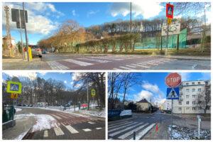 Zmodernizowane przejścia dla pieszych przy szkołach i słupki w rejonie skrzyżowania // fot. ZDiZ