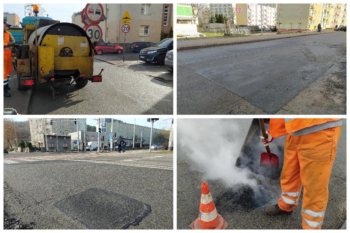 Kolaż zdjęć_naprawa ubytków drogowych // fot. ZDiZ