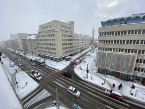 Widok z góry na skrzyżowanie ulic 10 Lutego i 3 Maja wykonane w dniu 11.02 // fot. ZDiZ