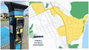 Parkomat oraz mapa stredy płatnego parkowania w Orłowie //fot. ZDiZ