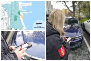 Kolaż: mapa strefy i kontrolerka sprawdzająca numer rej. na urządzeniu mobilnym // fot. ZDiZ