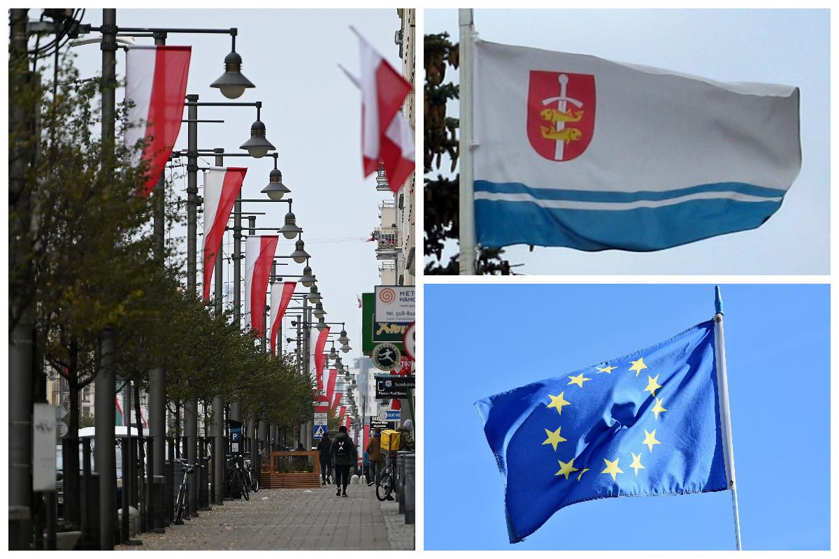 Flaga Polski, Unii Europejskiej, Miasta Gdyni // wikipedia, gdynia.pl, pixabay.com