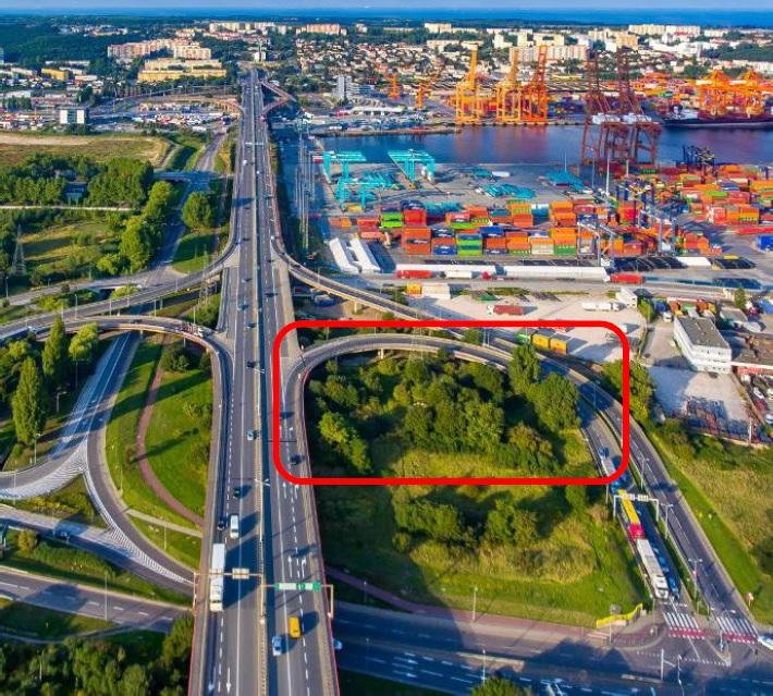 Zdjęcie z zaznaczonym obszarem remontu łącznicy Estakady Kwiatkowskiego // fot. mat. pras