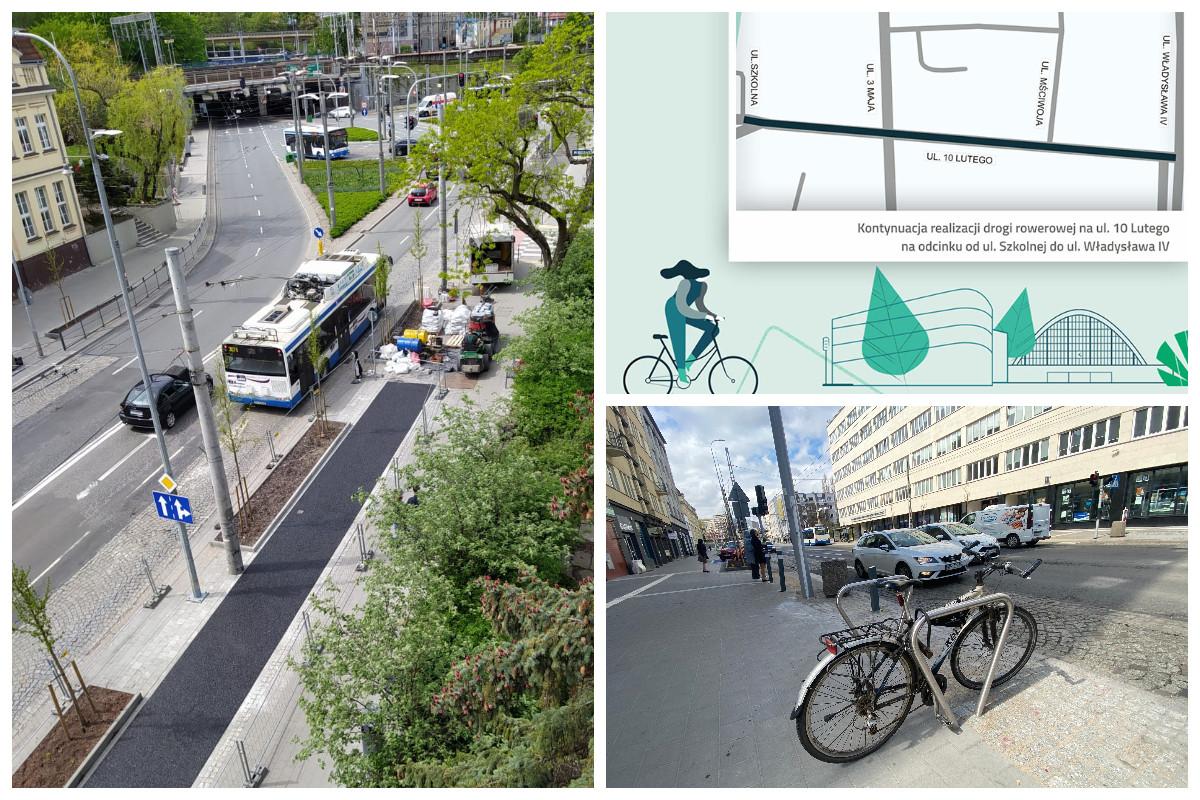 Budowa nowej ścieżki rowerowej, grafika i stojak rowerowy // fot. ZDiZ