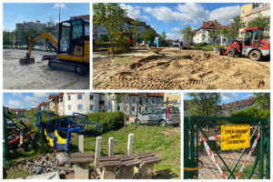 Koparki oraz zdemontowane urządzenia zabawowe na placu przy ul. Gryfa Pomorskiego // fot. ZDiZ