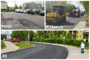 Kolaż zdjęć pokazujący prace drogowe na ul. Gryfa Pomorskiego // fot. ZDIZ