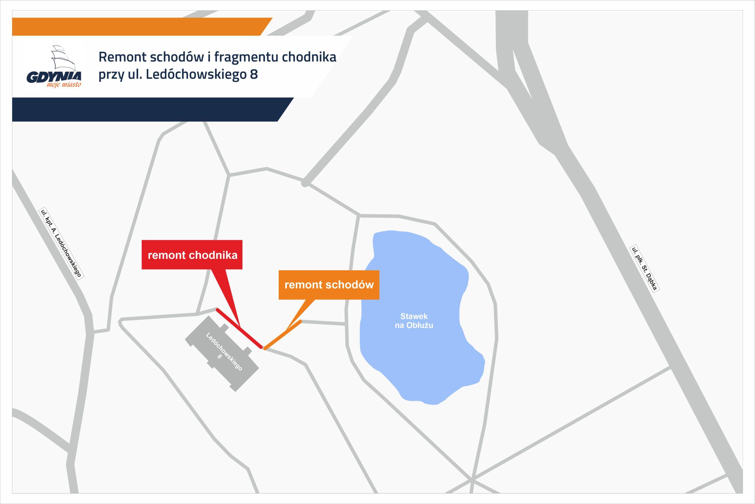 Mapka pokazująca odcinki remontowanych schodów i chodnika// mat.pras. #dzielnicewGdyni