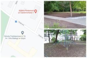 lokalizacja placu zabaw i wybrane urządzenia // fot.ZDiZ, googlemaps